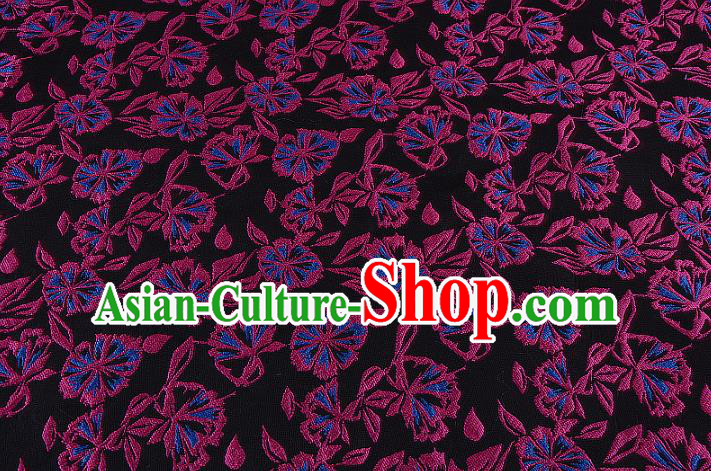 Chinese Traditional Costume Royal Palace Black Brocade Fabric, Chinese Ancient Clothing Drapery Hanfu Cheongsam Material