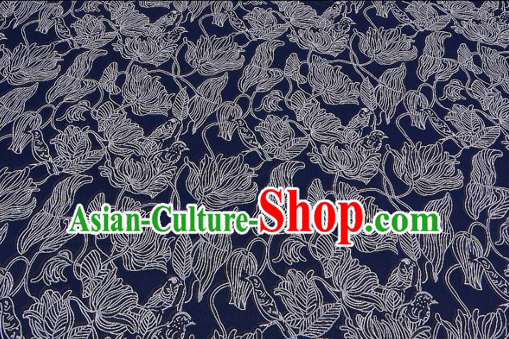 Chinese Traditional Costume Royal Palace Blue Brocade Fabric, Chinese Ancient Clothing Drapery Hanfu Cheongsam Material