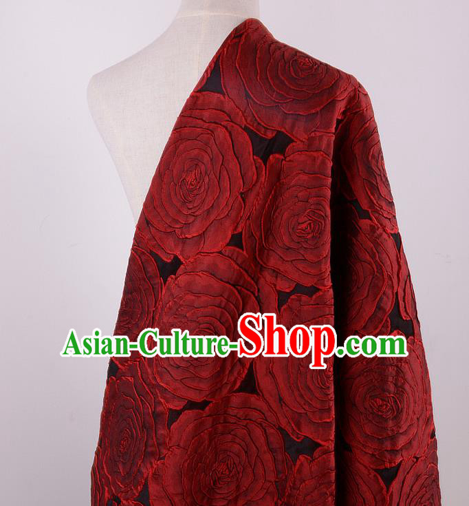 Chinese Traditional Costume Royal Palace Printing Red Rose Pattern Brocade Fabric, Chinese Ancient Clothing Drapery Hanfu Cheongsam Material