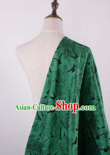 Chinese Traditional Costume Royal Palace Printing Green Leaf Pattern Brocade Fabric, Chinese Ancient Clothing Drapery Hanfu Cheongsam Material
