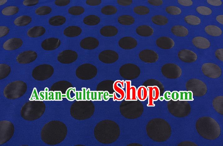 Chinese Traditional Costume Royal Palace Pattern Blue Brocade Fabric, Chinese Ancient Clothing Drapery Hanfu Cheongsam Material