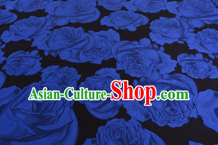 Chinese Traditional Costume Royal Palace Printing Blue Rose Satin Brocade Fabric, Chinese Ancient Clothing Drapery Hanfu Cheongsam Material