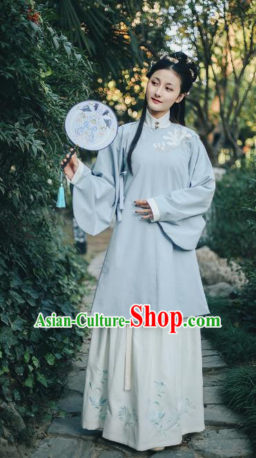 Traditional Chinese Ancient Ming Dynasty Palace Lady Hanfu Princess Embroidered Mangnolia Costume Complete Set for Women