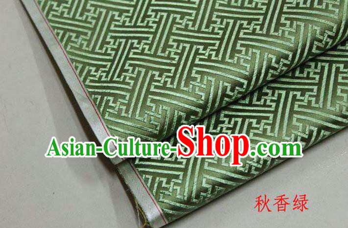 Chinese Traditional Costume Royal Palace Pattern Mongolian Robe Light Green Brocade Fabric, Chinese Ancient Clothing Drapery Hanfu Cheongsam Material