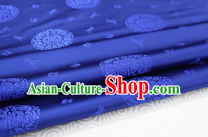 Chinese Traditional Royal Palace Longevity Pattern Mongolian Robe Royalblue Satin Brocade Fabric, Chinese Ancient Costume Drapery Hanfu Tang Suit Material