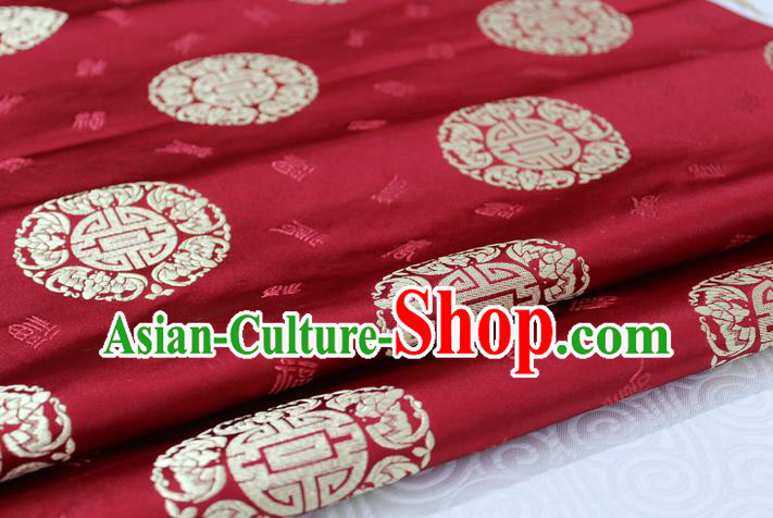 Chinese Traditional Royal Palace Golden Longevity Pattern Mongolian Robe Purplish Red Satin Brocade Fabric, Chinese Ancient Costume Drapery Hanfu Tang Suit Material