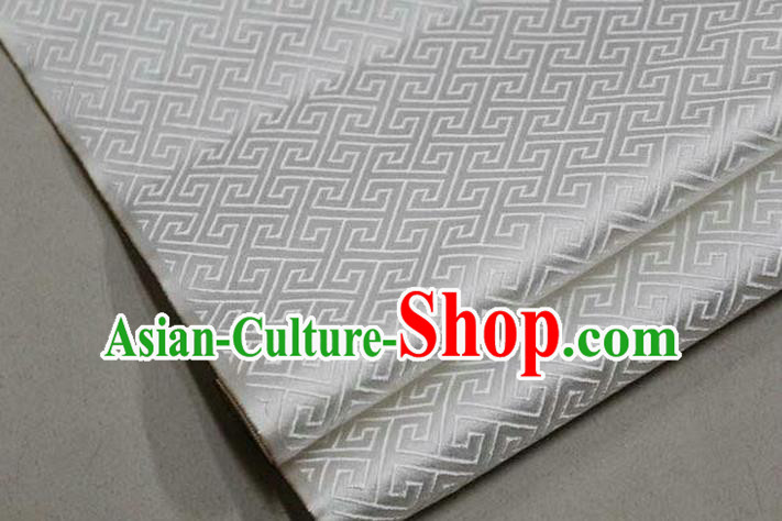 Chinese Traditional Royal Palace Back Pattern Mongolian Robe White Satin Brocade Fabric, Chinese Ancient Costume Drapery Hanfu Tang Suit Material