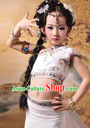 Traditional Children Belly Dance Costume, Chinese Little Belly Dance Elegant Dress, Cosplay Chinese Princess Hanfu Clothing for Kids