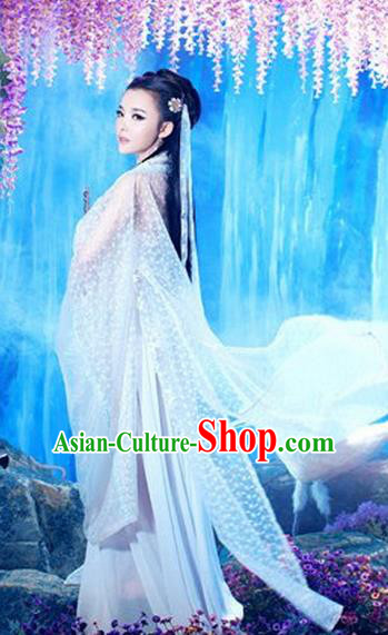 Traditional Ancient Chinese Costume, Costumes Elegant Hanfu Clothing Chinese Imperial Emperess Chiffon White Clothing for Women