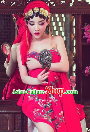 Traditional Ancient Chinese Opera Red Costume, Elegant Hanfu Clothing Chinese Tang Dynasty Hua Tan Water Sleeve Embroidered Clothing for Women
