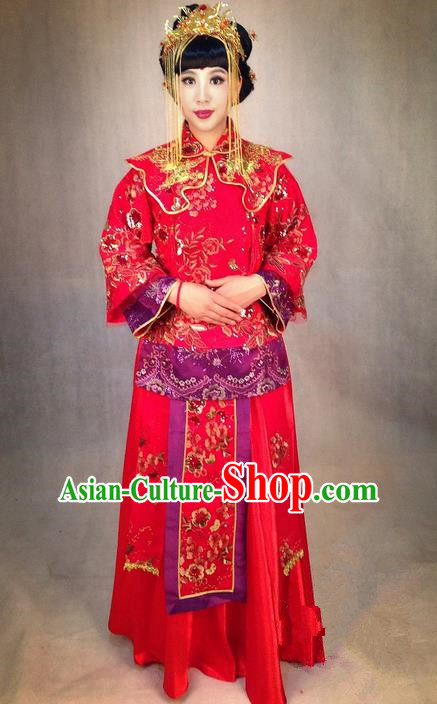 Ancient Chinese Costume Xiuhe Suits Chinese Style Wedding Dress Red Restoring Ancient Women Dragon and Phoenix Flown Bride Cheongsam