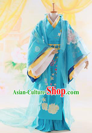 Traditional Ancient Chinese High-Grade Imperial Princess Costume, Chinese Han Dynasty Lady Elegant Dress, Chinese Fairy Blue Clothing Embroidered Hanfu for Women
