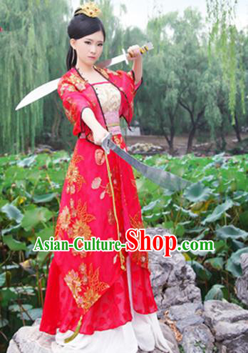 Ancient Chinese Swordsman Red Embroidered Costumes Red Hanfu Dress for Women