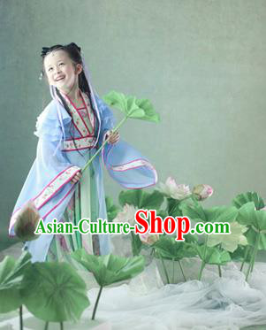 Traditional Ancient Chinese Imperial Princess Children Costume, Chinese Tang Dynasty Little Girl Lotus Dress, Cosplay Chinese Concubine Hanfu Clothing for Kids