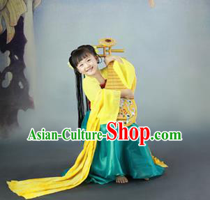 Traditional Ancient Chinese Imperial Princess Children Costume, Chinese Tang Dynasty Little Girl Dress, Cosplay Chinese Concubine Hanfu Clothing for Kids
