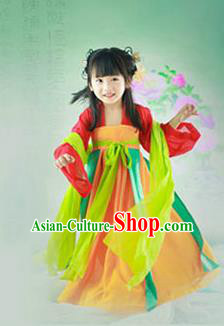 Traditional Ancient Chinese Imperial Princess Children Costume, Chinese Tang Dynasty Little Imperial Consort Dress, Cosplay Chinese Princess Hanfu Clothing for Kids