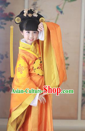 Traditional Ancient Chinese Imperial Princess Children Costume, Chinese Han Dynasty Little Imperial Consort Dress, Cosplay Chinese Princess Hanfu Clothing for Kids