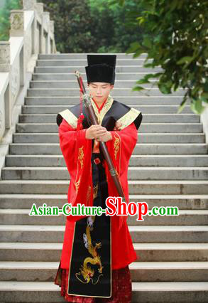 Traditional Handmade Chinese Ancient Imperial Emperor Costume, Chinese Han Dynasty Male Dress, Cosplay Chinese Majesty Embroidered Clothing Hanfu Complete Set for Men