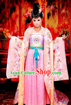 Traditional Ancient Chinese Imperial Emperess Costume, Chinese Tang Dynasty Lady Yang Dance Dress, Chinese Peri Imperial Princess Embroidered Hanfu Clothing for Women
