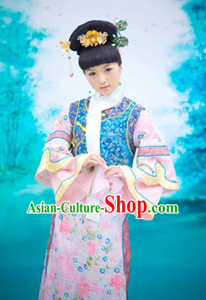 Traditional Ancient Chinese Imperial Consort Costume, Chinese Qing Dynasty Manchu Palace Lady Dress, Chinese Mandarin Princess Robes Imperial Concubine Clothing for Women