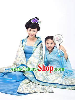 Traditional Ancient Chinese Imperial Consort and Children Costume, Chinese Tang Dynasty Palace Female Dress, Chinese Mother and Girl Clothing for Women