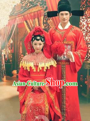 Traditional Ancient Chinese Emperess and Emperor Costume Complete Set, Chinese Han Dynasty Bride and Bridegroom Wedding Red Dress, Chinese Emperess Emperor Trailing Clothing for Women for Men
