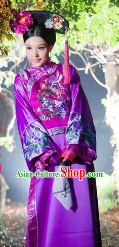 Traditional Ancient Chinese Imperial Consort Costume, Chinese Qing Dynasty Manchu Lady Dress, Chinese Mandarin Embroidering Flower Robes Imperial Concubine Embroidered Clothing for Women