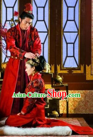 Traditional Ancient Chinese Wedding Costume, Chinese Ming Dynasty Wedding Dress, Cosplay Chinese Imperial Princess Embroidered Clothing for Women for Men