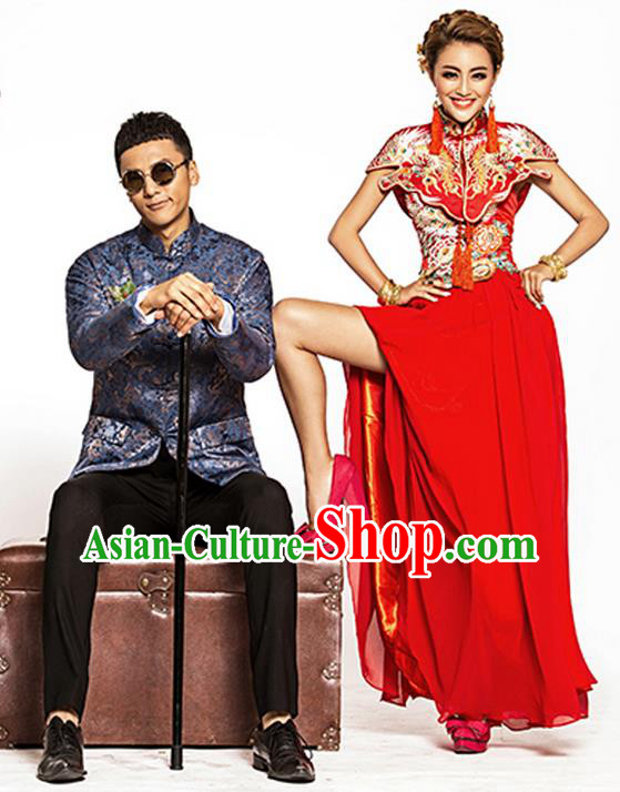 Traditional Ancient Chinese Costume Xiuhe Suits, Chinese Bride and Bridegroom Wedding Full Dress, Red Restoring Ancient Longfeng Dragon and Phoenix Flown Toast Cheongsam for Women for Men
