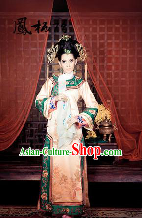 Traditional Ancient Chinese Imperial Consort Costume, Chinese Qing Dynasty Manchu Lady Dress, Chinese Mandarin Robes Imperial Concubine Handmade Embroidered Clothing for Women