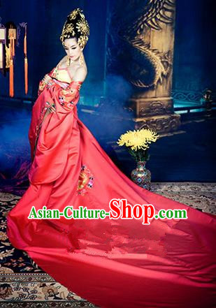 Traditional Ancient Chinese Imperial Princess Costume, Elegant Hanfu Clothing Chinese Tang Dynasty Imperial Empress Tailing Embroidered Clothing for Women