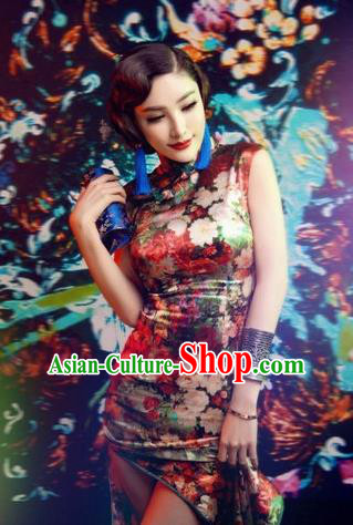 Traditional Ancient Chinese Young Women Cheongsam Dress, Republic of China Tangsuit Stand Collar Brocade Short Cheongsam for Women