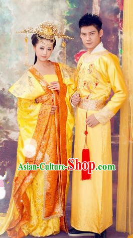 Traditional Ancient Chinese Imperial Consort Costume Set, Elegant Hanfu Clothing Chinese Tang Dynasty Imperial Queen Tailing Embroidered Clothing for Women