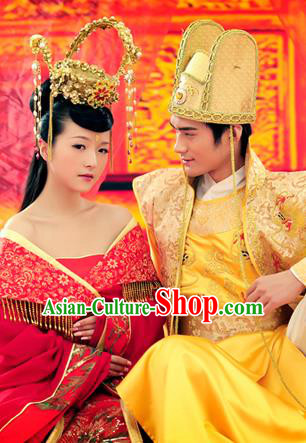 Traditional Ancient Chinese Imperial Consort and Emperor Wedding Costume Set, Elegant Hanfu Red Clothing Chinese Tang Dynasty Imperial Queen and King Tailing Embroidered Clothing for Women for Men