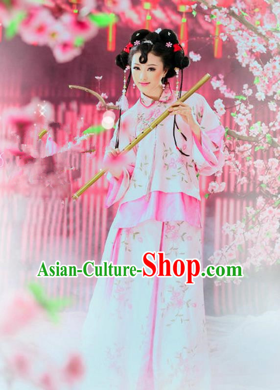 Ancient Chinese Costume Xiuhe Suits, Chinese Qing Dynasty Young Lady Embroidered Clothing for Women