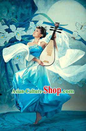 Traditional Ancient Chinese Imperial Consort Dance Costume, Elegant Hanfu Clothing Chinese Tang Dynasty Imperial Empress Embroidered Peony Dance Clothing for Women