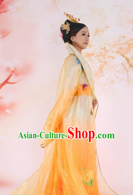 Traditional Ancient Chinese Imperial Consort Costume, Elegant Hanfu Clothing Chinese Tang Dynasty Imperial Emperess Butterfly Peony Tailing Clothing for Women