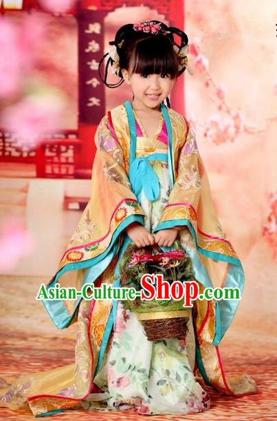 Traditional Ancient Chinese Imperial Empress Children Costume, Children Elegant Hanfu Clothing Chinese Tang Dynasty Imperial Empress Yellow Clothing for Kids