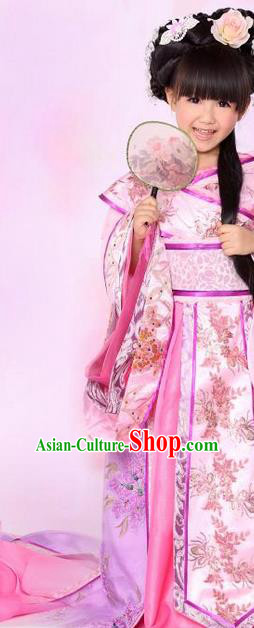 Traditional Ancient Chinese Imperial Consort Children Costume, Children Elegant Hanfu Clothing Chinese Tang Dynasty Imperial Concubine Pink Clothing for Kids