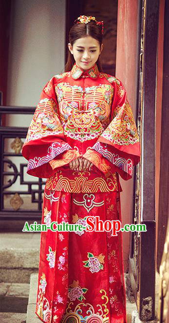 Traditional Ancient Chinese Costume Xiuhe Suits, Chinese Style Wedding Bride Dress, Restoring Ancient Women Red Embroidered Mandarin Duck Flown, Bride Toast Cheongsam for Women