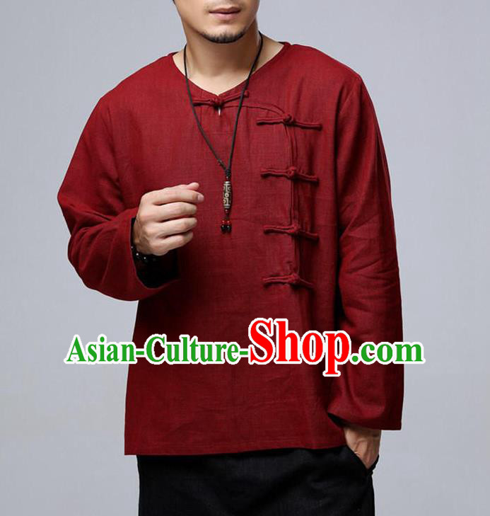 Top Chinese National Tang Suits Flax Frock Costume, Martial Arts Kung Fu Long Sleeve Red T-shirt, Kung fu Side Plate Buttons Unlined Upper Garment, Chinese Taichi Shirts Wushu Clothing for Men