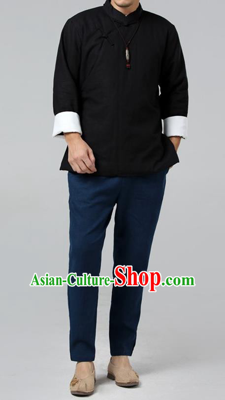 Top Chinese National Tang Suits Flax Frock Costume, Martial Arts Kung Fu Slant Opening Black Jackets, Kung fu Plate Buttons Unlined Upper Garment, Chinese Taichi Cotton-Padded Coats Wushu Clothing for Men