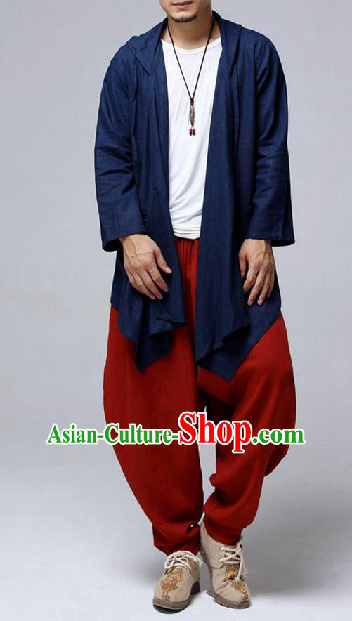 Top Chinese National Tang Suits Flax Frock Costume, Martial Arts Kung Fu Blue Hooded Cardigan, Kung fu Plate Buttons Unlined Upper Garment, Chinese Taichi Dust Coats Wushu Clothing for Men