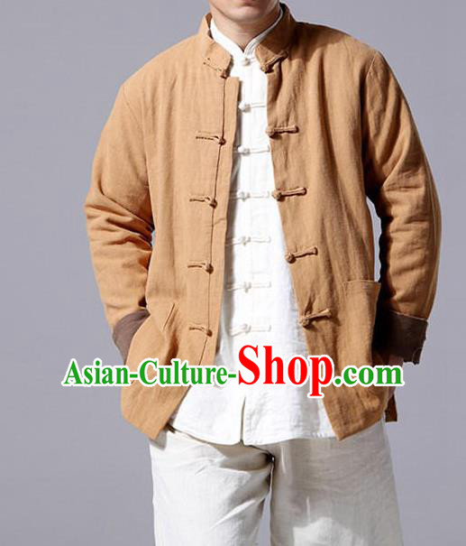 Top Chinese National Tang Suits Flax Frock Costume, Martial Arts Kung Fu Front Opening Brown Jackets, Kung fu Plate Buttons Unlined Upper Garment, Chinese Taichi Cotton-Padded Coats Wushu Clothing for Men
