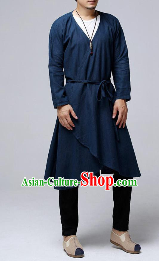 Traditional Top Chinese National Tang Suits Flax Frock Costume, Martial Arts Kung Fu Purplish Blue Cardigan, Kung fu Unlined Upper Garment, Chinese Taichi Dust Coats Wushu Clothing for Men