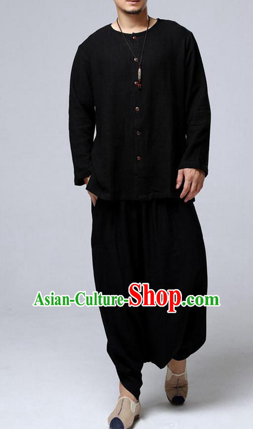 Traditional Top Chinese National Tang Suits Flax Frock Costume, Martial Arts Kung Fu Front Opening Black Blouse, Kung fu Unlined Upper Garment, Chinese Taichi Shirts Wushu Clothing for Men