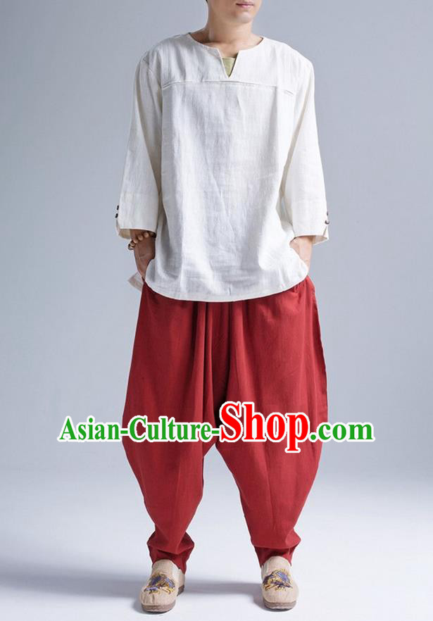 Traditional Top Chinese National Tang Suits Linen Frock Costume, Martial Arts Kung Fu Long Sleeve White T-Shirt, Kung fu Upper Outer Garment, Chinese Taichi Shirts Wushu Clothing for Men