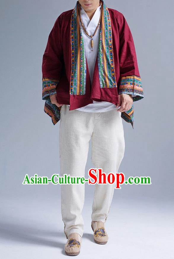 Traditional Top Chinese Yunnan Ethnic Tang Suits Linen Frock Costume, Martial Arts Kung Fu Lacy Red Cardigan, Kung fu Thin Upper Outer Garment, Chinese Taichi Thin Coats Wushu Clothing for Men