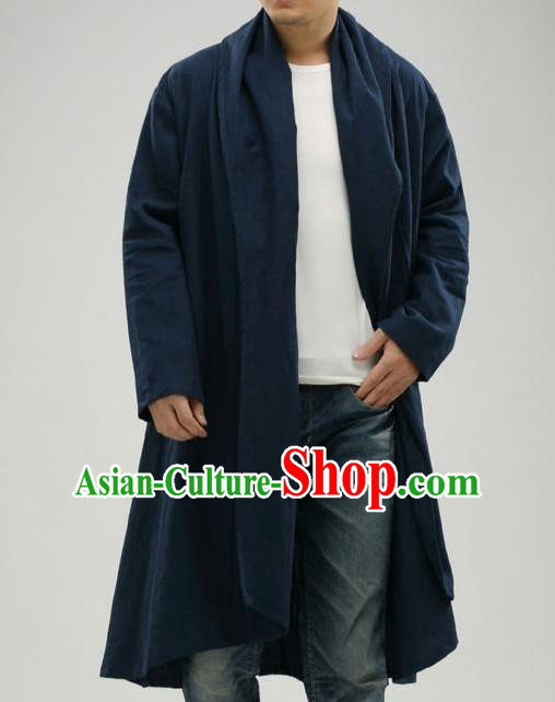 Traditional Top Chinese National Tang Suits Linen Frock Costume, Martial Arts Kung Fu Dark Navy Cardigan, Kung fu Upper Outer Garment Cloak, Chinese Taichi Dust Coats Wushu Clothing for Men