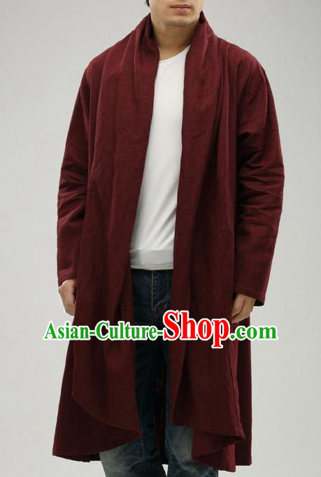 Traditional Top Chinese National Tang Suits Linen Frock Costume, Martial Arts Kung Fu Purplish Red Cardigan, Kung fu Upper Outer Garment Cloak, Chinese Taichi Dust Coats Wushu Clothing for Men